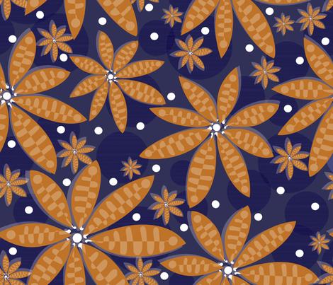 blue flower carpet fabric by liluna on Spoonflower - custom fabric