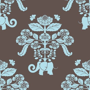 Elephants in my Garden Damask in Aqua and Brown