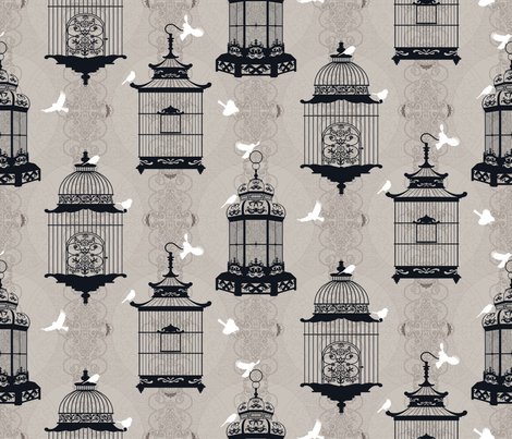 Julie's Empty Bird Cages WG/B fabric by juliesfabrics on Spoonflower - custom fabric