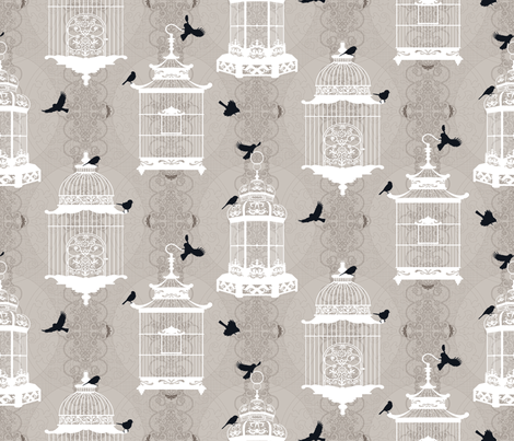 Julie's Empty Bird Cages WG/W fabric by juliesfabrics on Spoonflower - custom fabric