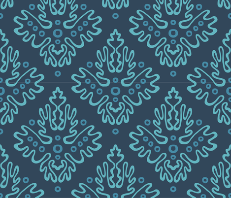 Antler Damask in Sea