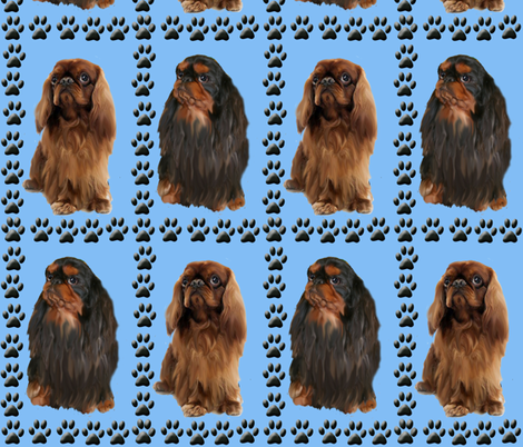 English Toy Spaniels and Paw Priints fabric by dogdaze_ on Spoonflower - custom fabric