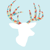 Confetti deer on blue