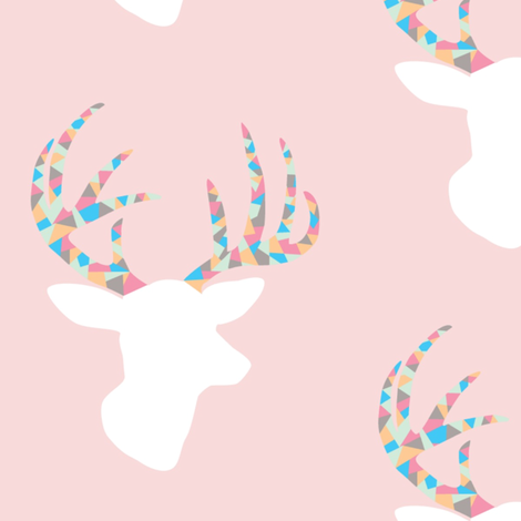 Confetti deer on pink fabric by >>mintpeony<< on Spoonflower - custom fabric