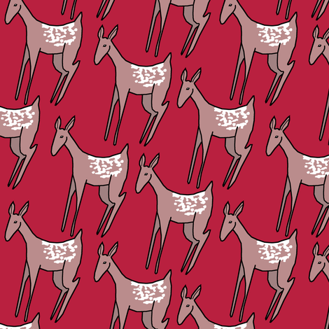 Deer on Red II. fabric by pond_ripple on Spoonflower - custom fabric