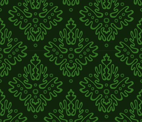 Antler Damask in Greens
