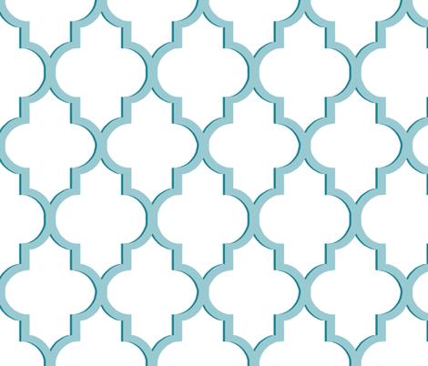 Dimensional Quatrefoil in Tiffany Blue fabric by sparrowsong on Spoonflower - custom fabric