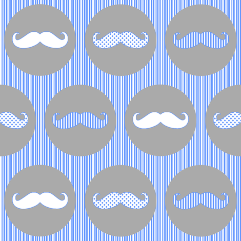 Nice Tache Moustache Mustache Grey and Blue fabric by lovelyjubbly on Spoonflower - custom fabric