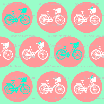 Dutch Bicycle with Tweet Birds on Peach & Mint Green