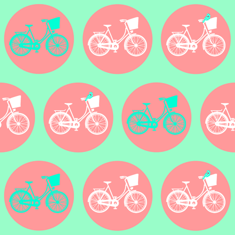 Dutch Bicycle with Tweet Birds on Peach & Mint Green fabric by lovelyjubbly on Spoonflower - custom fabric