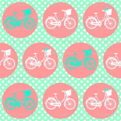 Bicycle Spots Peach Aqua Polkadot