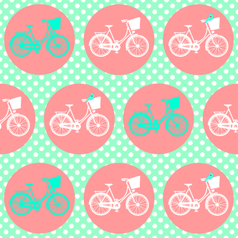 Bicycle Spots Peach Aqua Polkadot fabric by lovelyjubbly on Spoonflower - custom fabric