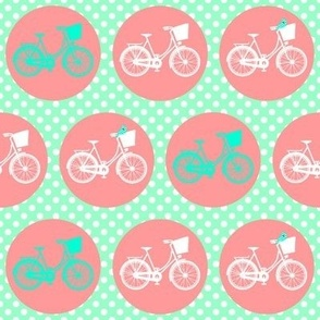 Bicycle Spots Peach Aqua Polkadot
