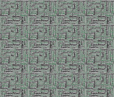 Under Your Spell (Slytherin size variation) fabric by implexity on Spoonflower - custom fabric