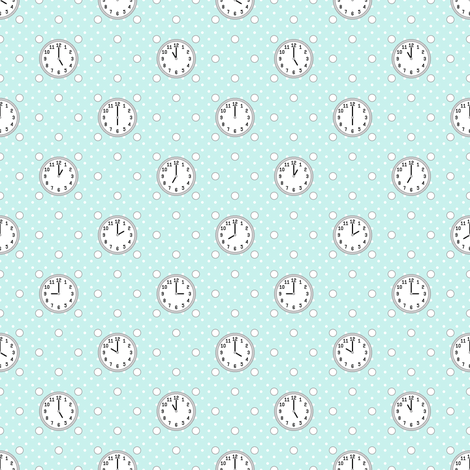 polka o'clock (cyan) fabric by sef on Spoonflower - custom fabric
