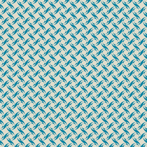 Geo Swirl in Teal and Sand fabric by carolina_medberg on Spoonflower - custom fabric