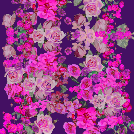 Vintage inspired floral in Hot Pink and Eggplant fabric by theartwerks on Spoonflower - custom fabric