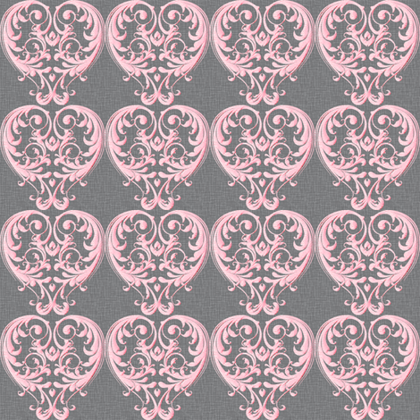 Opera Damask Pink fabric by vannina on Spoonflower - custom fabric