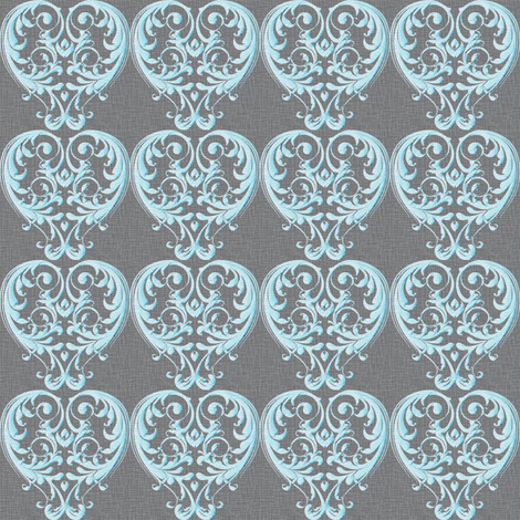 Opera Damask Blue fabric by vannina on Spoonflower - custom fabric