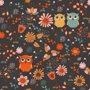 cute owls and flowers
