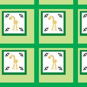 Giraffes in Emerald Quilt