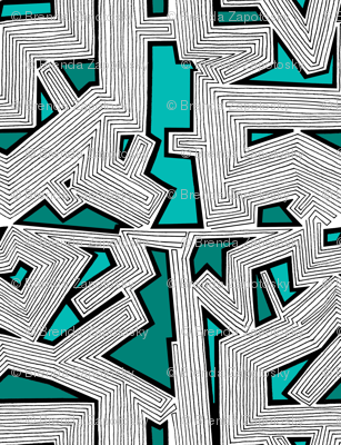 Abstract Lines Teal