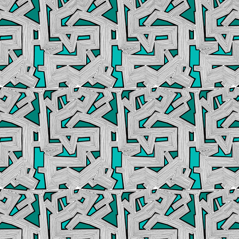 Abstract Lines Teal fabric by brendazapotosky on Spoonflower - custom fabric