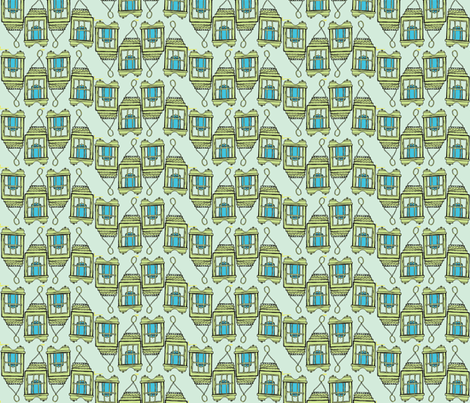 blue candle line seafoam fabric by luluhoo on Spoonflower - custom fabric