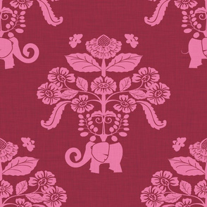 Elephants in My Garden Linen Berry Damask (large scale)