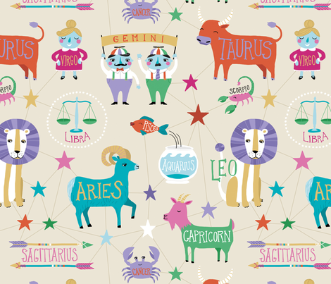 What's Your Sign? fabric by annewashere on Spoonflower - custom fabric