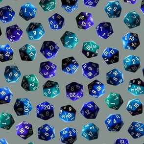 d20 gamer dice blue