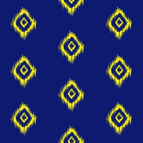 Ikat in Navy and Yellow Diamonds