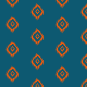 Ikat print in Orange and Teal