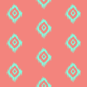 Ikat in Coral and Mint