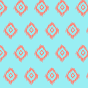 Ikat in Mint and Coral