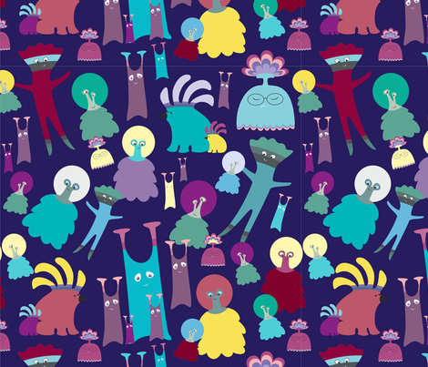 Aliens party fabric by dariara on Spoonflower - custom fabric