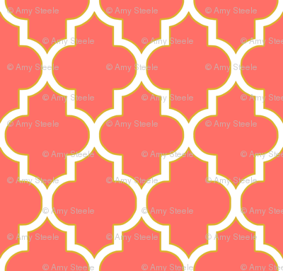 Quatrefoil in Coral and Gold
