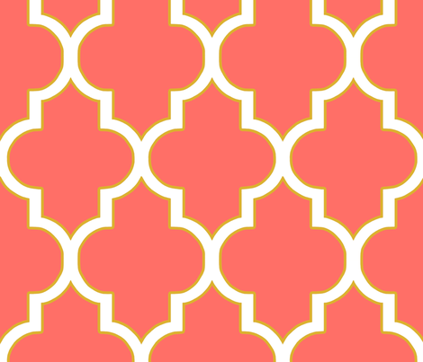 Quatrefoil in Coral and Gold fabric by willowlanetextiles on Spoonflower - custom fabric
