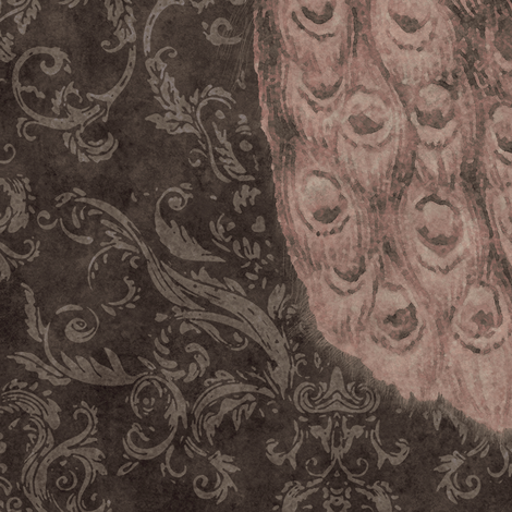 Royal Plumes in Graphite and Pink Amethyst fabric by sparrowsong on Spoonflower - custom fabric