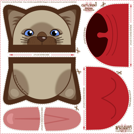 Siamese_Coin_Purrse fabric by woodmouse&bobbit on Spoonflower - custom fabric
