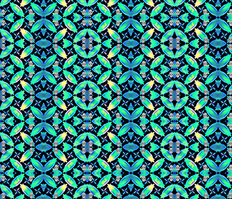 skull blue green fabric by ann-dee on Spoonflower - custom fabric