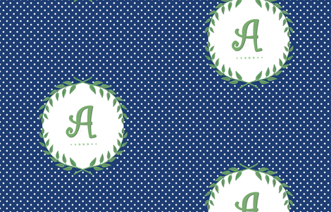 Customizable Laurel Monogram in Apple Green and Navy fabric by sparrowsong on Spoonflower - custom fabric
