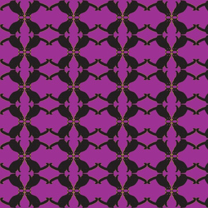 batty cat purple green