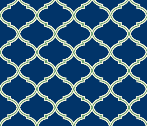 Lily Trellis in Preppy Apple Green and Navy  fabric by willowlanetextiles on Spoonflower - custom fabric