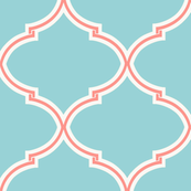 Lily Trellis in Turquoise and Coral