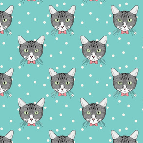 Polka Cats Green