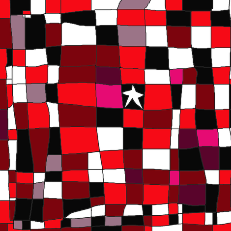 Grid with star red black fabric by luckyrobin on Spoonflower - custom fabric