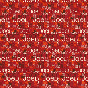 Personalised Name Fabric - Deer in Red Brown Orange Small
