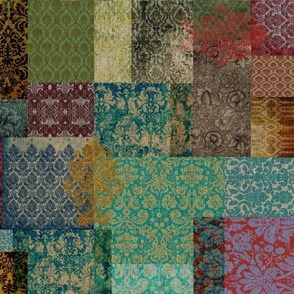 Bohemian Cheater Quilt Patchwork (in Rust and Teal)