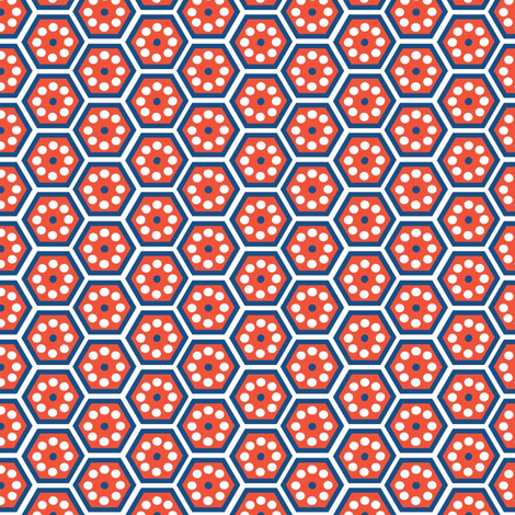 honeycomb - blue and red fabric by krihem on Spoonflower - custom fabric